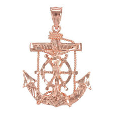 Rose Gold Mariner Crucifix  St. Clement's Cross Anchor Pendant