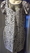 'Lipsy' Cream/Black Animal Print Bodycon Mini Dress with Black Lace Trim Size 12