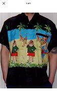 Mens Loud Black Santa On Vacation Christmas Palm Tree Hawaiian Shirt XL