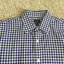 mens j.crew button up shirt 120s 2 ply blue gingham medium WM06C