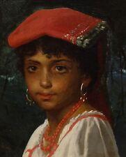 19th secolo ITALIANO CONTADINA BAMBINO RITRATTO ANTICO DIPINTO AD OLIO FIRMATO