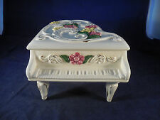 """large vintage ceramic music box piano and storage unit 9 1/2"""" long by 7 1/2"""" w"""