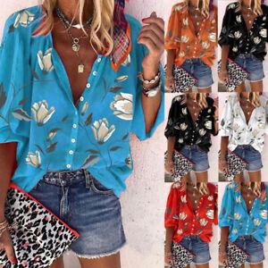 Plus Size Womens Long Sleeve Floral Shirt Ladies Button Vneck Casual Tops Blouse