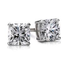 Cushion Cut 14k White Gold Diamond Earrings Set GIA Certified 1.50 Carat