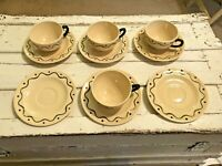 Vtg Metlox Poppytrail Green Rooster 4 Cups & 6 Saucers CA Provincial Art Pottery