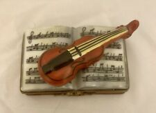 Limoges Violin on Sheet Music Trinket Box