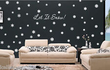 72 Snowflakes & Let It Snow wall art vinyl decal sticker Christmas holiday