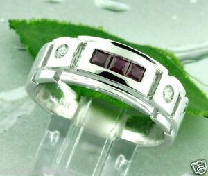0.63 ct 14k Solid White Gold Men's Princess Cut Ruby & Natural Diamond Ring USA