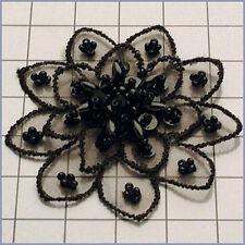 BLACK SEQUIN BEADED FLOWER APPLIQUE  2354-A