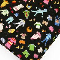 100% Cotton Print Fabric by FQ Baby Children Kids Dress Hat Hood Socks VK7 Black