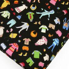 Cotton Print Fabric FQ - Baby Children Kids Dress Cartoon Retro Quilt VK7 Black
