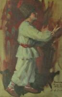 "Antique Original Oil Painting ""HUMORESQUE"" By E. G. Cram Primitive Folk Art"