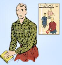 1950s Original Vintage Advance Sewing Pattern 8167 Classic Men's Shirt Size MED