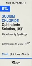 Akorn USP 5 Sodium Chloride Ophthalmic Solution Eye Drops, 0.5 Fl Oz PACK OF 2