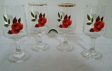 True Vintage Retro Red Rose Glass Floral Aperitif Sherry Schnapps Glasses x 4