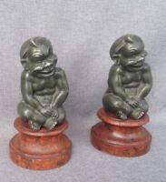 Pair of antique Art-Nouveau sculptures made of regule late 1800's fawns