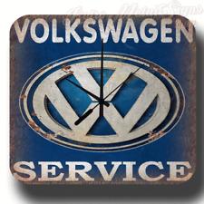 VOLKSWAGEN SERVICE WALL CLOCK VINTAGE RETRO GARAGE WORKSHOP TIN METAL SIGN CLOCK