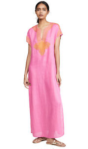 NWT $378 Tory Burch Solid Long Linen Caftan Fire Pink L Large