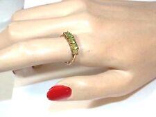 Green Peridot 5 Oval Stone 9k Yellow Gold Band sz 7.75 Ring 10h 37