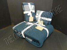 Pottery Barn West Elm Cozy Border Stripe Bed Blanket King Euro Shams Regal Blue