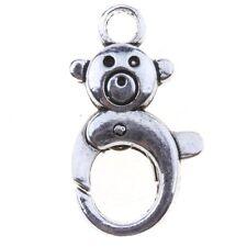 12pcs Hot Sale Antique Silvery Little Bear Lobster Swivel Clasp For Key Chain D