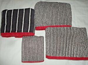 VINTAGE RALPH LAUREEN CABANA OFF-BLACK RED STRIPE (4P) BATH  & HAND TOWELS SET