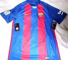 """F.C. BARCELONA """"NIKE DRY-FIT"""" HOME BLUE / RED SOCCER JERSEY MEN'S SMALL NEW $165"""