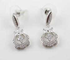 Cubic Zirconia CZ Intricate Design Dangle Silver Tone Earrings Post/Rubber Pad
