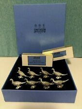 Smythson 6 Pewter Pheasant Place Card Holders & 50 Gilded Place Cards~VERY RARE