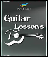 Guitar Lessons Class Music Decal Sign Business Store Vinyl Window Decal.