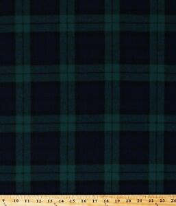 "Wool Blend Coating Black Watch Plaid Green Navy 58"" Fabric by the Yard A611.14"