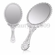 Silver Vintage Repousse Oval Round Makeup Hand Held Vanity Mirror Princess Lady