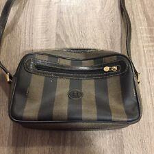 Vintage authentic FENDI paquin brown striped crossbody shoulder bag (10)