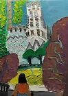 """Original oil painting Barcelona without frame  size 9x7"""" (24x18cm)  canvas board"""