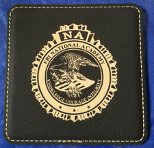 FBI NA Federal Bureau of Investigation National Academy 4 Black Leather Coasters
