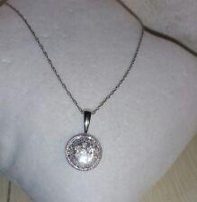 ZRW 10k White Gold circle cluster diamond Pendant Necklace $350