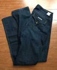 HUDSON JEANS CARLY MID RISE STRAIGHT LEG 32X35 DARK WASH EXCELLENT