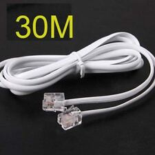 High Speed 30m 90feet RJ11 Telephone Phone ADSL Modem Line Cord Cable white ya
