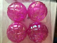 4 Pink Transparent 4 Inch Ball Christmas Ornament Decoration Shatter Resistant