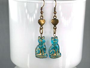 GLASS CAT EARRINGS blue Czech glass bronze heart drop dangle