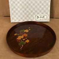 """Asian Wooden inlaid floral platter wood leaves plate 12"""" Japanese China vintage"""