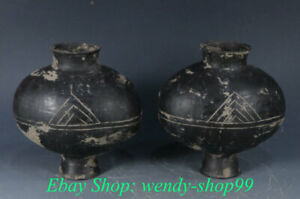 """6"""" Antique Chinese Hongshan Culture Black Pottery Dynasty Palace Tank Jug Pair"""