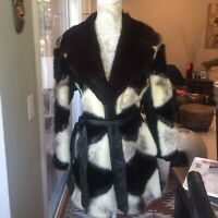 Vintage Retro Fur And Leather Coat Mink Collar With Waist Tie Belt. Small