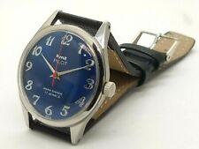 genuine hmt pilot hand winding men steel blue dial 17 jewel vintage India watch