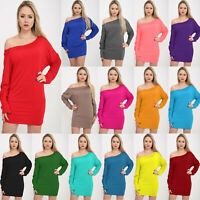 Women's Ladies Off Shoulder Long Sleeve Loose Baggy Batwing Dress Top 8-26