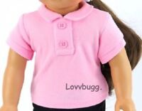 """Pink Polo T Shirt for American Girl, Boy 18"""", Baby 15"""" Doll Clothes BY LOVVBUGG!"""
