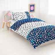 Single Bed Kids Reversible Afia Blue White Black Pink Dots Print Quilt Cover Set