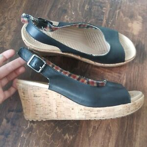 Crocs Womens Shoes Size 7 w Strappy Cork Wedge Open Toe Black Leather Sandals
