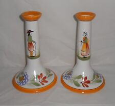"Pair of Vintage 7 ½"" Henriot Quimper Candle Sticks with Man & Woman Motif France"