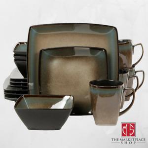 16-Piece Dinnerware Set Stoneware Kitchen Dinner Plates Bowls Mugs Dishes New